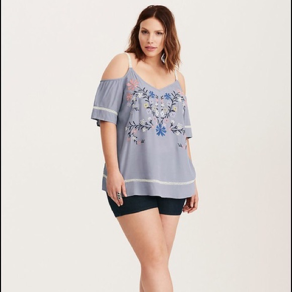 97553ac8b44 Torrid Embroidered Lace Inset Cold Shoulder Top